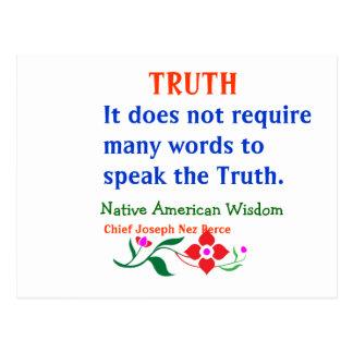 VERDAD:  Palabras indias americanas de la Tarjetas Postales