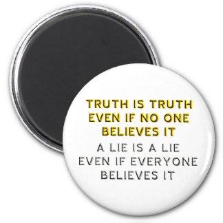 Verdad y mentira imán redondo 5 cm