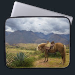 "Verdant Sacred Valley Horse Computer Sleeve<br><div class=""desc"">A horse grazes in front of the beautiful green verdant mountains of the sacred valley in Peru,  South America</div>"