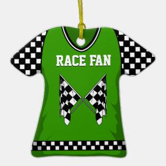 Verde #16 de la bandera de la raza ornamento para arbol de navidad