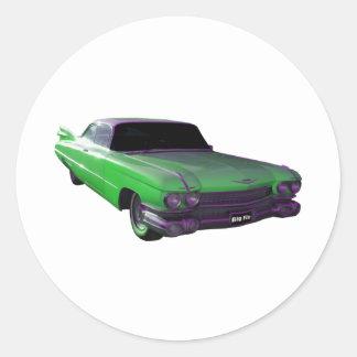 Verde 1959 de Cadillac Pegatina Redonda