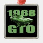 Verde 1968 del coche del músculo de Pontiac GTO Adorno Cuadrado Plateado