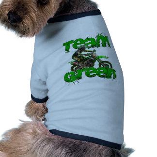 Verde 2013 del equipo camiseta con mangas para perro