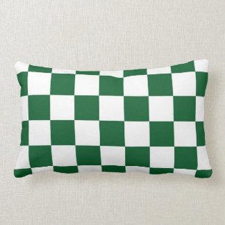 Verde a cuadros y blanco almohada