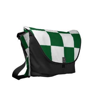 Verde a cuadros y blanco bolsa de mensajería