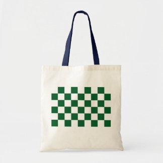 Verde a cuadros y blanco bolsa tela barata