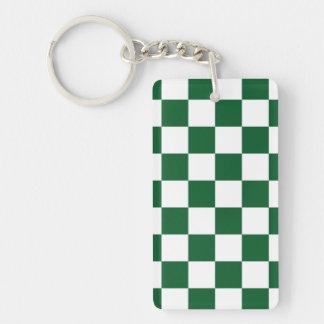 Verde a cuadros y blanco llavero rectangular acrílico a doble cara