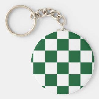 Verde a cuadros y blanco llavero redondo tipo pin