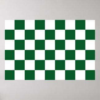 Verde a cuadros y blanco póster