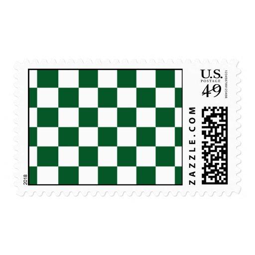 Verde a cuadros y blanco timbres postales