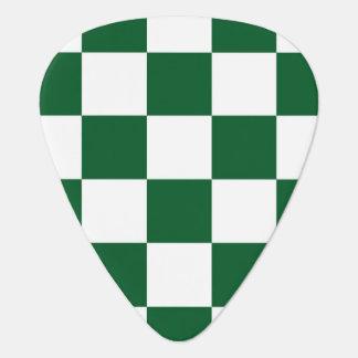 Verde a cuadros y blanco uñeta de guitarra