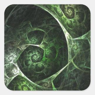 Verde abstracto de la piel de serpiente pegatina cuadrada