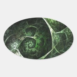 Verde abstracto de la piel de serpiente pegatina ovalada