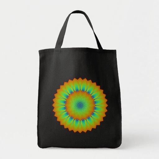 Verde abstracto del pixel del fractal del girasol bolsa