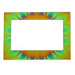 Verde abstracto del pixel del fractal del girasol marcos magnéticos de fotos