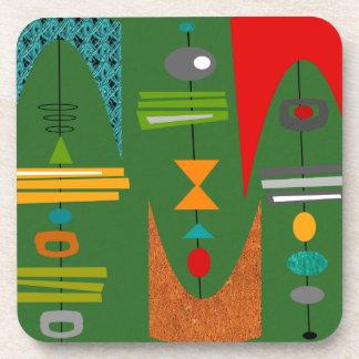 Verde abstracto moderno de los mediados de siglo posavaso