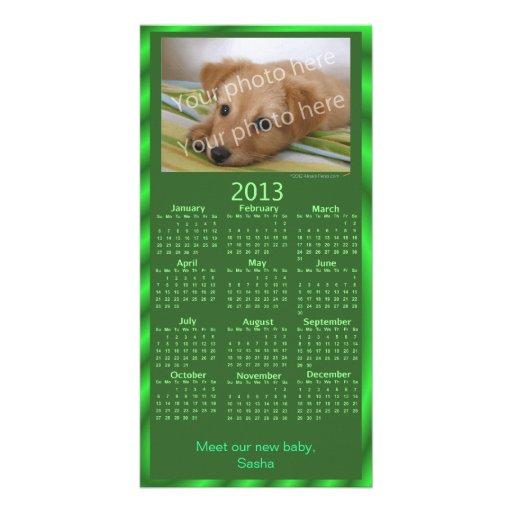 Verde adaptable del calendario de la tarjeta 2013  tarjeta fotografica
