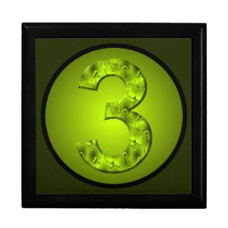Verde afortunado de la naturaleza de tres números joyero cuadrado grande