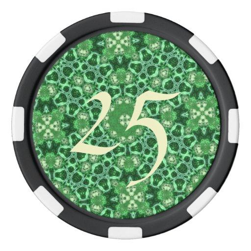 verde al azar del modelo fichas de póquer