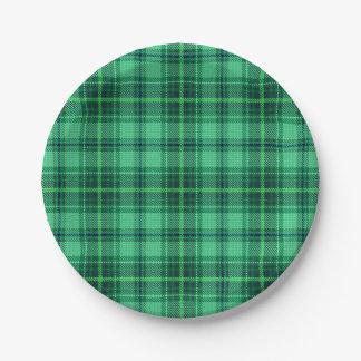 Verde alegre clásico de la tela escocesa el | plato de papel de 7 pulgadas