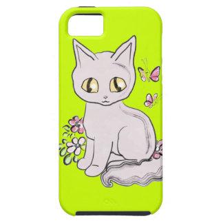 Verde amarillo brillante del gato fresco del iPhone 5 carcasa