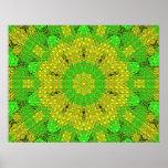 Verde/amarillo de cristal del mosaico del efecto poster