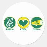 Verde/amarillo de la alegría del amor de la paz pegatina redonda