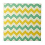 Verde amarillo de los zigzags de Chevron de la fru Azulejos Cerámicos