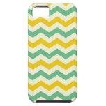 Verde amarillo de los zigzags de Chevron de la fru iPhone 5 Coberturas