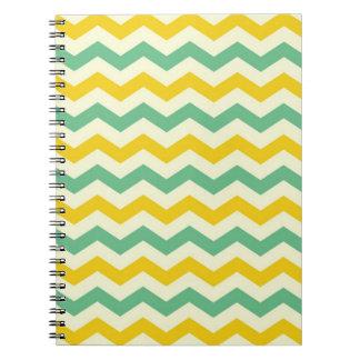 Verde amarillo de los zigzags de Chevron de la fru Libro De Apuntes