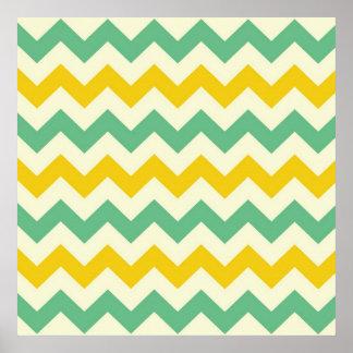 Verde amarillo de los zigzags de Chevron de la fru Póster