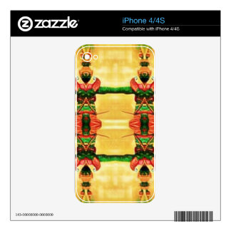 Verde amarillo del guardia psicodélico skins para eliPhone 4