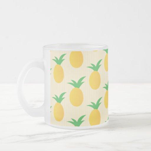 Verde amarillo del modelo de la piña taza de cristal