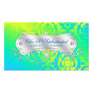 Verde amarillo del resplandor solar del damasco de tarjeta de visita