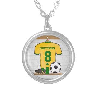 Verde amarillo personalizado del jersey de fútbol collar plateado