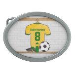 Verde amarillo personalizado del jersey de fútbol hebilla de cinturon oval
