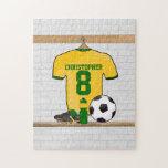 Verde amarillo personalizado del jersey de fútbol puzzle