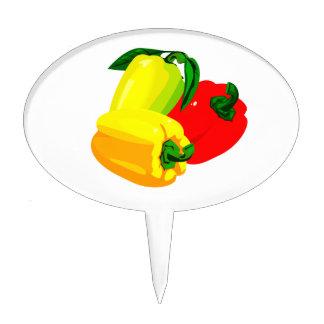 Verde amarillo rojo gráfico de tres pimientas decoración para tarta