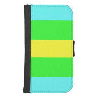 Verde amarillo y rayas anchas azules fundas tipo billetera para galaxy s4
