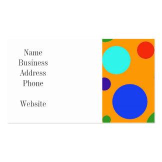 Verde anaranjado azul de los lunares grandes color tarjetas de visita