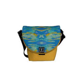 Verde anaranjado azul del arte abstracto bolsa de mensajeria