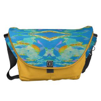 Verde anaranjado azul del arte abstracto bolsa messenger