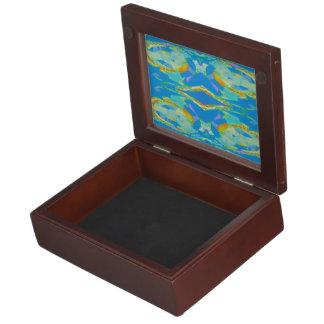 Verde anaranjado azul del arte abstracto cajas de recuerdos