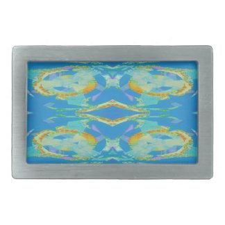Verde anaranjado azul del arte abstracto hebilla cinturón rectangular