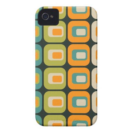 Verde anaranjado beige azul redondeado retro de lo iPhone 4 Case-Mate cárcasas