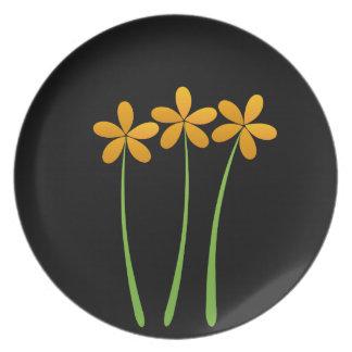 Verde anaranjado floral exótico adaptable plato para fiesta