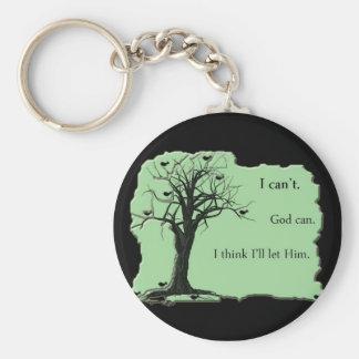 verde - árbol del pájaro - biselo a dios puedo - l llavero personalizado