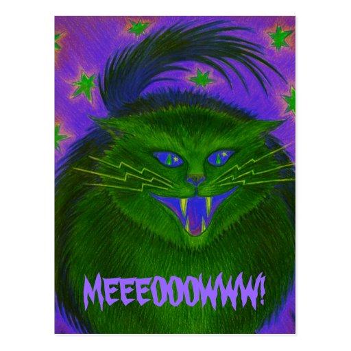 "Verde asustadizo ""MEEEOOOWWW del gato!"" postal"