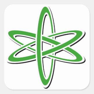 Verde atómico pegatina cuadrada