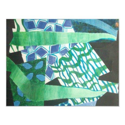 "verde azul abstracto invitación 4.25"" x 5.5"""